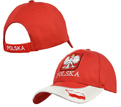 Polska Crest with Accent Velcro Adjustable Hat Poland Flag Emblem Polish Pride Cap - (Polish Cap)