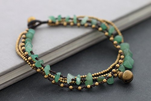 Stone Brass Layered Chain Anklets, Woven Beaded Jade Green Ankles Bracelets, Bohemian - Anklet Jade