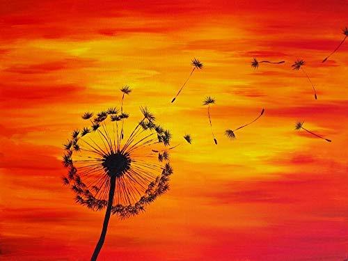 Dandelion Painting Art Print 8x10 Inch Wall Decor Red Orange and Yellow Wall Art Print