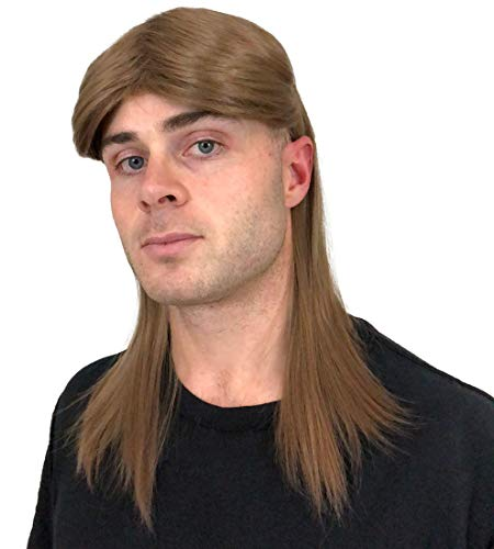 Brown Rocker Mullet Wig: Mullet Rocker Wig for Men 80s Mens Rocker Wigs Costumes Theme Party Men's Rockstar Wig Halloween 80's Rockstar Wigs for Men Wigs Rockstar Costume -