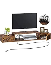 """Rolanstar Floating TV Shelf with Power Outlet, 47"""" Wall Mounted TV Stand with Doors, Rustic Entertainment Center Media Console with Storage for Home Living Room Office, Rustic Brown"""