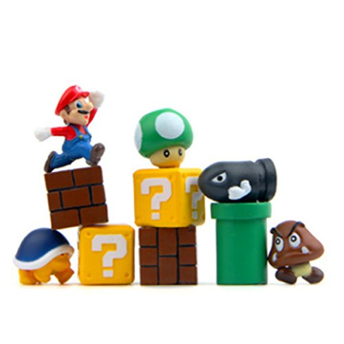 10 Piece Super Mario Bros Action Figures, Mini Super Mario Bros Figures Bundle, Birthay Cake Topper (Mario 10 Super)