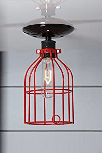 Red Cage Light - Ceiling Mount Industrial Lighting - Black