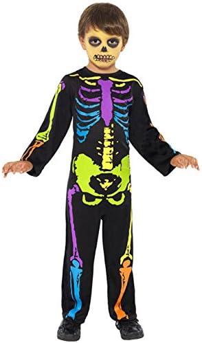 Punky Neon Esqueleto Halloween Disfraz Para Niños Negro Multicolor ...