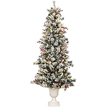 Amazon.com: Vickerman Flocked Slim Utica Tree with Dura-Lit 400 ...
