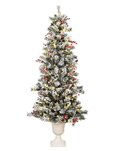 ABUSA Prelit Potted Pencil Christmas Tree 6.5 Feet with Pine Cones Red Berries 200 LED Lights 428 Branch Tips Flocked Slim Xmas Tree (Christmas Tree Lit Pre Flocked)