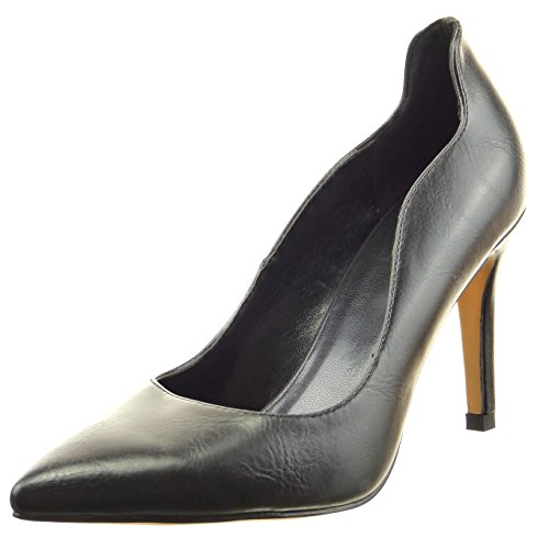 Sopily - Scarpe da Moda scarpe decollete stiletto alla caviglia donna Tacco Stiletto tacco alto 9 CM - Nero