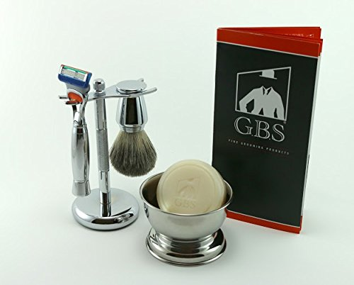 5 Piece Men's Shaving Gift Set -- Comes with Gift Box, 5 Blade Razor, Chrome Brush, Bowl and Stand by GBS
