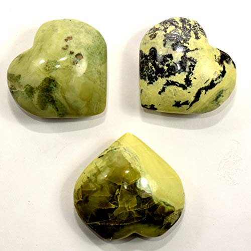 - 52mm Natural Yellow/Green Serpentine Puffy Heart Polished Sparkling Gemstone Crystal Mineral Spesimen from Peru (1PC)