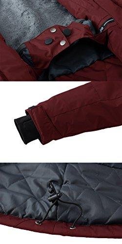 Vino Wantdo Donna Impermeabile Rosso Antivento Pile Cappuccio in Giacca Sci da R7rRvU