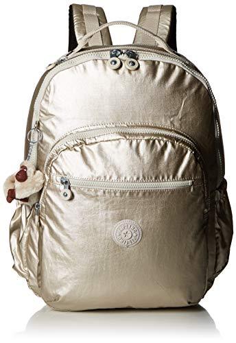 (Kipling Seoul Go XL Laptop, Padded, Adjustable Backpack Straps, Zip Closure, cloud Grey/Metallic)