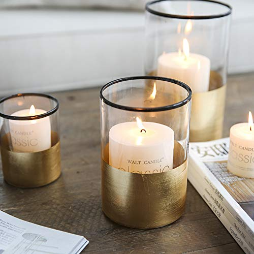 Gold Foiled Cylinder Glass Candle Holder Centerpiece Decor with Dark Rimmed for Votive,Dining Table,Fireplace,Indoor/Outdoor (7 Inch Height) ()