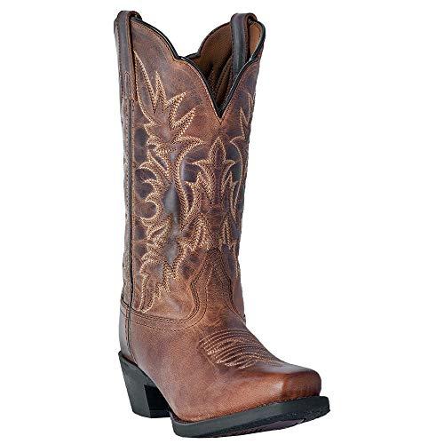 Tan Distressed Cowboy Boots - Laredo Womens Tan Cowboy Boots Leather Cowboy Square Toe 7.5 M