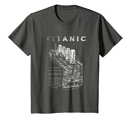Kids Titanic Cross Section T Shirt Tee Ship Voyage Atlantic Ocean 8 Asphalt