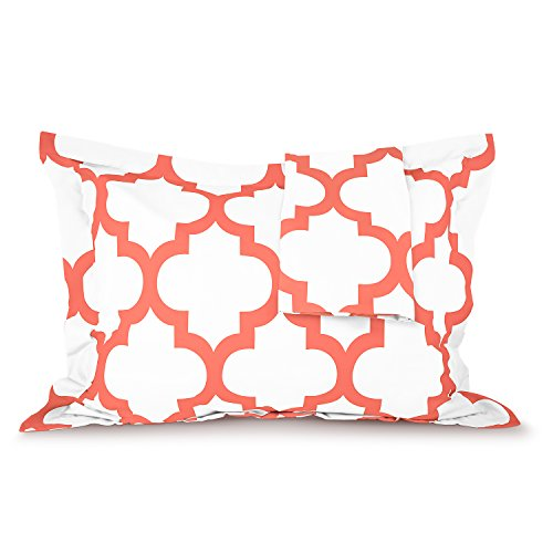 Sleep Restoration Quatrefoil Shams 2-Pack - Luxurious Soft Brushed Microfiber Pillow Covers to Match the Sleep Restoration Quatrefoil Comforter Set - King/Cal King - Coral