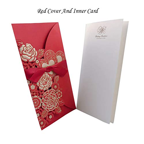 qiao-qiao-store 50pcs Cut Rose Heart Wedding Invitations Card Greeting Cards Customize with Ribbon Wedding Decoration Event Party Supplies-in Cards & Invitations from Home & Garden,Cover and Inner from qiao-qiao-store