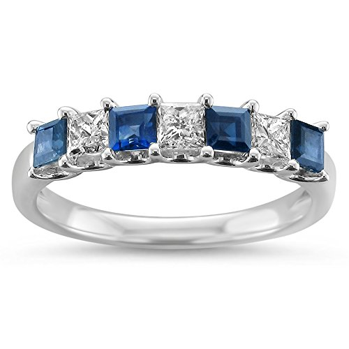 La4ve Diamonds 14k White Gold Princess-Cut Diamond & Blue Sapphire Bridal Wedding Band Ring (1 cttw, I-J, I1-I2), Size 5.5 ()