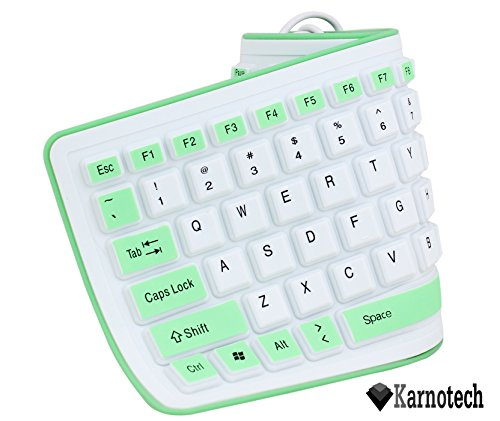 Karnotech® Foldable Silicone Keyboard USB Wired Silicon Flexible Soft Waterproof Roll Up Silica Gel Computer Desktop (103 Keys) Keyboard for PC Laptop Notebook for library work class indoor environment Green