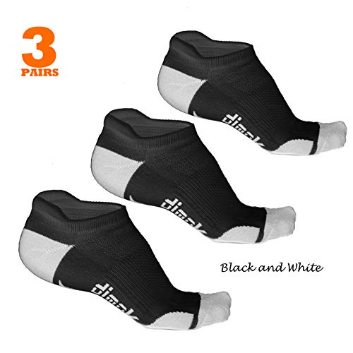 dimok Athletic Running Socks - No Show Wicking Blister Resistant Long Distance Sport Socks for Men and Women (Black, Medium)