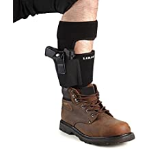 Lirisy Ankle Holster for Concealed Carry | Non-Slip with Calf Strap Holster Fits Glock 42, 43, 36, 26, Smith and Wesson Bodyguard .380.38, Ruger LCP, LC9