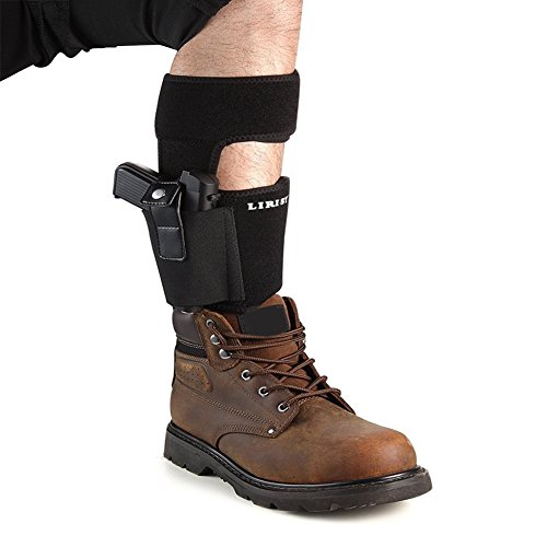 LIRISY Ankle Holster for Concealed Carry | Non-Slip with Calf Strap Holster Fits Glock 19 42, 43, 36, 26, Smith and Wesson Bodyguard .380.38, Ruger LCP, LC9 (17' Band Fits Up to 15' Leg)