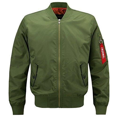 [HANQIU Mens Outdoor Lightweight Army Military Bomber Jackets Windbreaker] (Lightweight Flight Jacket)