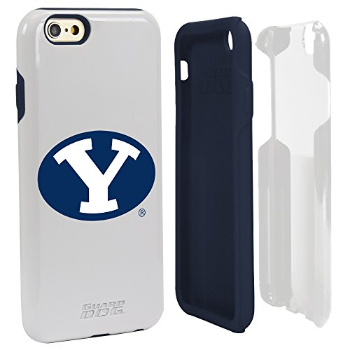 BYU Cougars White Guard Dog Hybrid Case for iPhone 6/6s with Guard Glass Screen ()