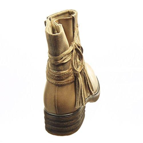 Angkorly - Zapatillas de Moda Botines biker - motociclistas cavalier bimaterial mujer nodo pompom líneas Talón Tacón ancho 4 CM - plantilla Forrada de Piel - Beige