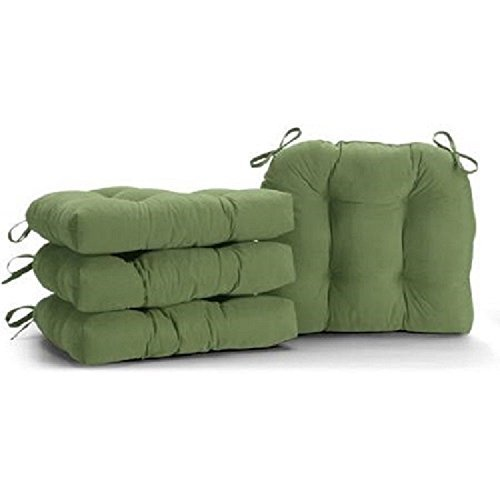 Faux Suede Chair Pad with Ties, Set of 2 (Mystic Green) (Cushions Brentwood Chair)