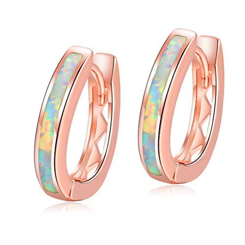 (18K Rose Gold Plated White Opal Huggie Hoop Earrings Hypoallergenic for Women Teen with Sensitive Ears)