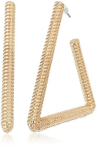 Steve Madden Gold Textured Open Triangle Hoop Earrings