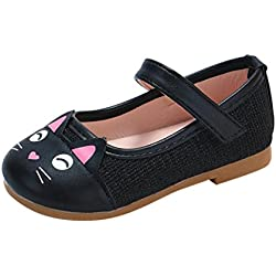 Voberry Toddler Little Girl Cute Cartoon Cat Leather Mary Jane Flats Princess Party Dress Shoe (2-2.5T, Black)
