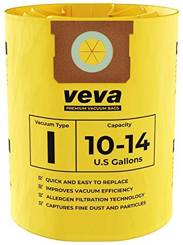 Filter Bags Type - VEVA 10 Pack Premium Vacuum Filter Bags Type I 9067200 Compatible with Shop Vac 10-14 Gallon Vacuum, Part # SV 90672