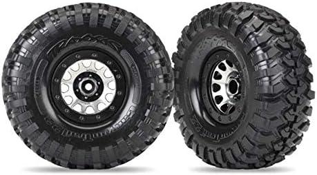 Black Traxxas 8172 2.2 Assembled Method 105 Chrome Beadlock Wheels with Canyon Trail Tires