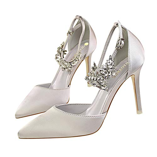 fibbia con Argento scarpe Colore EU alto Scarpe tacco strass con Dimensione sexy 40 donna Fuxitoggo Rosso 4HqXfw