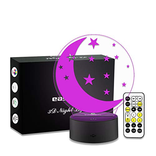 Easuntec Kids Night Light Moon Star Night Light 7 Colors Change with Timer Remote Perfect All-Night Companion for Kids Gifts for Kids(Moon Star)