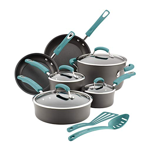 Handle 12 Piece - Rachael Ray Hard-Anodized Nonstick 12-Piece Cookware Set, Gray with Agave Blue Handles