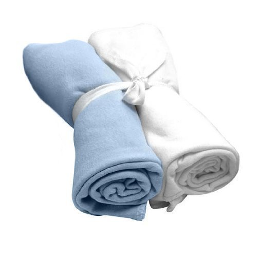 Under The Nile Swaddle Blankets- Two Blanket Set- Blue and White.