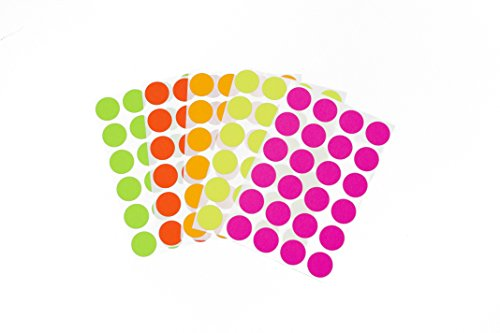 """3/4"""" Assorted Fluorescent Colors Kit (5 Colors) of Color-Coding Sticker Dots, Permanent Adhesive - 1,200 Dots/Pack"""
