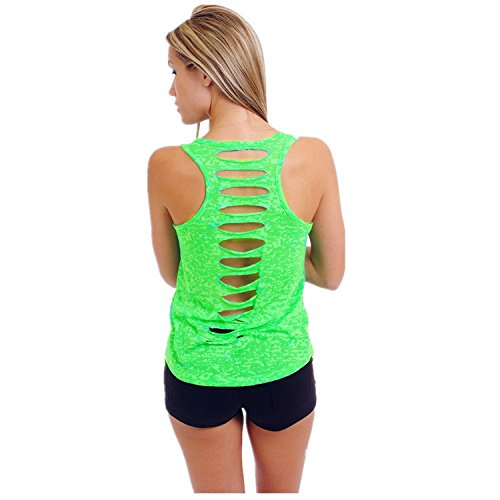 HHei_K Womens Casual Solid-Color Back Cut-Out Holes Vest Crew Neck Sleeveless Perspective Shirt Tank ()