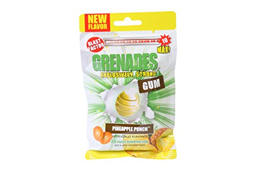 Grenades, Explosively Intense Sugar Free Chewing Gum (Pineapple Punch, 1 Pack)