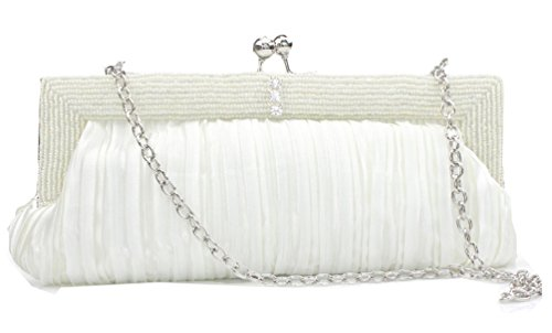 (UNbox Womens Elegant Beaded Silk Pleated Bridal Clutch Bag Off White)