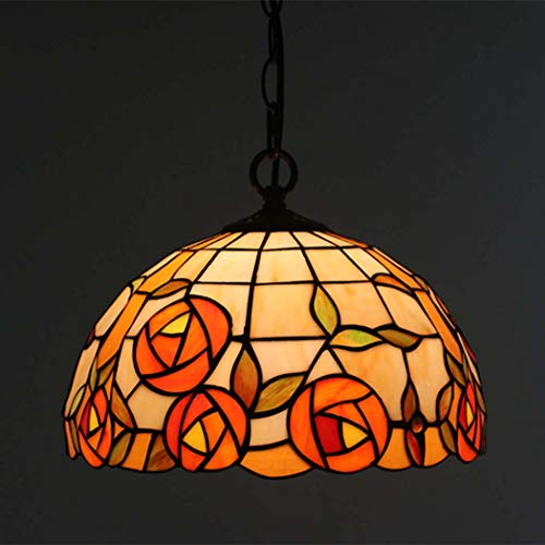 Tiffany Style Pendant Lamp, Dining Room Vintage Classic Tiffany Style Stained Glass Hanging Light, for Bedroom Living Room Loft E27,Rose