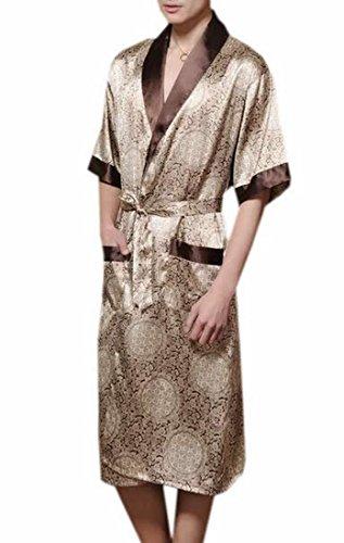Striped Mens Robe (Fulok Mens Stylish Ice Sleepwear 1/2 Sleeve Robe coffee)