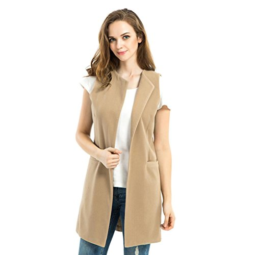 Cardigan Fashion Long Open Parka Solid Coat Outwear Vest Gilet Waistcoat Pockets Front Sleeveless with Womens Loose Khaki Jacket Casual TIanranRT AqxSaS