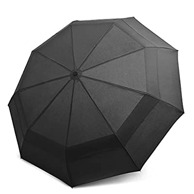 EEZ-Y Compact Travel Umbrella with Windproof Double Canopy Construction - Sturdy, Portable and Lightweight for Easy Carrying - Auto Open Close Button for One Handed Operation