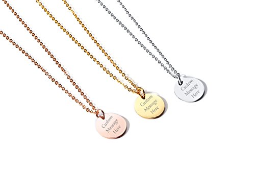VNOX Custom Engraved Stainless Steel Circle Round Tag Disc Pendant Necklace,Inspirational Bridesmaid Friendship Gift for Her ([Mix 3 Color], Pack of 3)