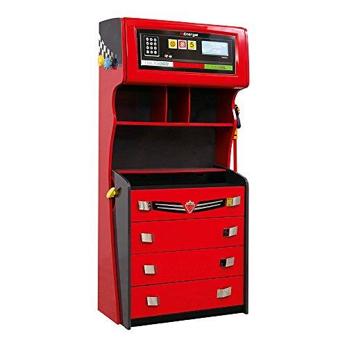Boys Furniture - CilekRace Car Dresser W/ ShelvesGTS 4 Drawer ChestChildrens Extra Storage Dresser Red