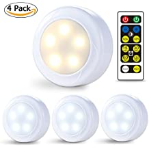 Litake Wireless LED Puck Lights, Remote Control Kitchen Under Cabinet Lighting, Dimmable 7000K Cool/3000K Warm White Light Battery Powered Closet Lights-4 Pack