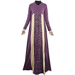 Plaid&Plain Women's Long Sleeve Muslim Islamic Abayas Lace A-line Maxi Dress Purple 8